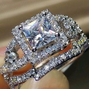 2 PC white silver crystal engagement-wedding rings